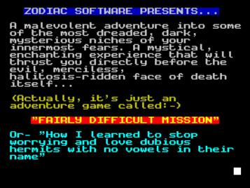 Fairly Difficult Mission (1988)(Zodiac Software)